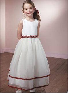 Simple Scoop Neck Sleeveless with Hand Made Flower Sash Tulle Dress