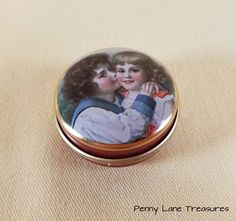 Victorian Candy Tin ~ Pill Box ~ Trinket Box ~ Christmas Gift Box ~ Round ~ Metal Tin ~ Tooth Fairy Box ~ Pill Case ~ Penny Lane Treasures by PennyLaneTreasures on Etsy