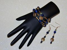 MCFROGGY'S ORIGINAL ONE-OF-A-KIND HANDCRAFTED-LAPIS-SWAROVSKI CRYSTAL-CZECH-MEMORY WIRE BRACELET-EARRING SET-BLUE-INCLUDES A FREE GIFT-CERTIFICATE OF AUTHENTICITY-AND GIFT BAG-$32.99-FREE SHIPPING | eBay