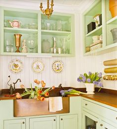Love the pale green with copper countertops