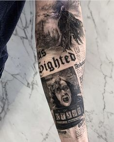 It is Harry Potter! So currently there are various kinds of Harry Potter tattoos available with this type. Leg Sleeve Tattoo, Full Sleeve Tattoos, Sleeve Tattoos For Women, Tattoo Sleeve Designs, Tattoos For Guys, Cool Tattoos, Tattoos Pics, Beautiful Tattoos, Wolf Sleeve