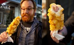 Korean street food- this just happens to be a french-fry wrapped hotdog on a stick.