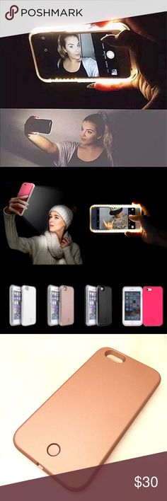 LED Selfie Case for IPhone 6, 6s &7. Bronze rose. LED phone cases for iPhone 6, 6s and 7! The color is bronze rose gold. How to adjust the light :  1. Click on / off LED lights  2. Press the button long time and adjust light intensity  3. Double-click the button to enter Strobe mode,  double-click again to enter the SOS flashing mode,  double LED lights flash burst mode to re-enter (or click Close)  The phone case is rechargeable! Connect the case with USB cord to charge it.  Comment below…