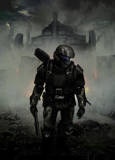 This is a cc for my favorite halo character the odst, i did not do the painting merely a touch up with cc and dodge and burn tools. Halo 3 Odst, Halo 5, Halo Reach, Video Game Art, Video Games, Halo Backgrounds, John 117, Science Fiction, Halo Armor
