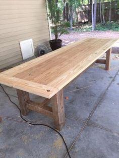 10 Foot Farm Table with Reclaimed Barn Wood - Farmhouse table Patio Table, Diy Table, Outdoor Farm Table, Farm Table Plans, Farm Tables, Barn Wood Tables, Wooden Tables, Pallet Tables, Barnwood Dining Table