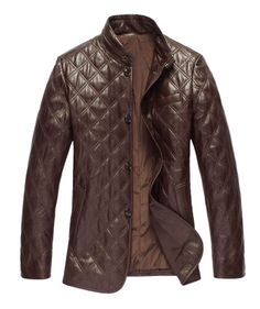 Buy Quilted Classic Mens Leather Coat jacket online from Leatherfads shop.  The coat features standard collar, detailed stitch work, straight fit with  button ...