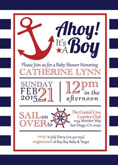 Welcome to Hill & Honey Design Studio-- creative buzz for lifes sweetest moments. This Ahoy Its A Boy Baby Shower invitation is the perfectly preppy way to invite your friends to a nautical themed baby shower. With its red, white, and blue motif, this invite sets a patriotic tone and shows your guests its time to sail in for a great time! This listing is for a digital, printable file for the invitation only. The file can then be printed at home or printed locally at your preferred print…