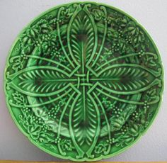 "Antique 19C Salins France Majolica Green 8.25"" Leaf Grape Vine Plate Rich Color"