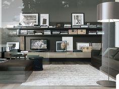 Mueble modular de pared composable lacado con soporte para tv SINTESI by Poliform diseño Carlo Colombo