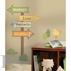 actual signs New Zoo Animals Signs Wall Decals Baby Nursery Green Brown Yellow Stickers Decor Jungle Room, Jungle Theme, Jungle Nursery, Nursery Room, Church Nursery, Baby Boy Rooms, Baby Boy Nurseries, Kids Wall Decals, Wall Stickers