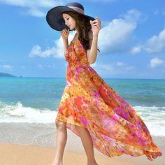 Floral rochie sifon praștie de vară rochie boem rochie de plaj 2015 de vară coreean femei