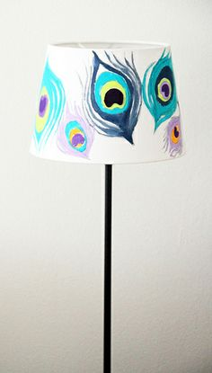 peacock painted lampshade by alisa burke