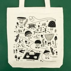 Custom tote bags Illustrator Mona K is selling her custom bags on her Etsy store! Tote Bags For College, Custom Tote Bags, Printed Tote Bags, School Bags, Fashion Bags, Etsy Store, Screen Printing, Illustrator, Badge