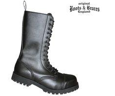 Boots & Braces Boots & Braces 14-Loch Stiefel, Vegetarian  #bootsandbraces #boots #stiefel #schwarzestiefel #vegan #veganestiefel / mehr Infos auf: www.Guntia-Militaria-Shop.de