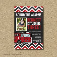 Firefighter birthday party invitation fire by saralukecreative, $15.00