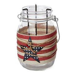 Hanging Americana Themed Mason Jar Lantern for Party Decor, Crafting, and Displaying * Check out this great product. (This is an affiliate link and I receive a commission for the sales)