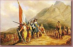 The landing of Jan van Riebeeck - In 1651 he was sent to establish a refreshment post at the Cape of Good Hope. On the 6th of April 1652 Van Riebeeck landed at the Cape with 3 ships (Reijer, Dromedaris, Goede Hoop), accompanied by 82 men and 8 women (including Maria de la Quellerie). The Walvisch and the Oliphant arrived late, having had 130 burials at sea.