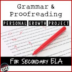 Grammar and Proofreading Skills Project - Personalized learning for middle and high school English classes!
