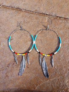 Beaded Dreamer Earrings: large beaded hoop earrings w/ silver feathers, Native American Earrings, Tribal Jewelry