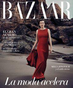 Milla Jovovich pose on Harper's Bazaar Spain Magazine March 2016 cover