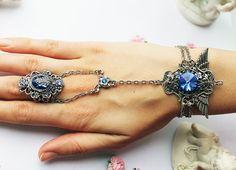 Steampunk - Blue angel wings gothic steampunk fantasy swarovski slave bracelet by DreamCloudJewelry