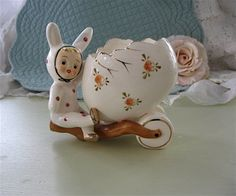 Vintage Napco Girl in Bunny Costume Easter Egg Planter RARE Hard to find Easter Holiday Decor by Fannypippin on Etsy https://www.etsy.com/listing/182896123/vintage-napco-girl-in-bunny-costume