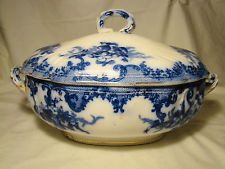 Furnivals Flow Blue Versailles Pattern Soup Tureen & Cover c1890-1895