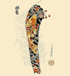 Tattoos From Around The World – Voyage Afield Traditional Japanese Tattoo Sleeve, Japanese Koi Fish Tattoo, Japanese Tattoo Designs, Koi Tattoo Sleeve, Full Sleeve Tattoo Design, Japanese Sleeve Tattoos, Koi Dragon Tattoo, Full Hand Tattoo, Koi Tattoo Design