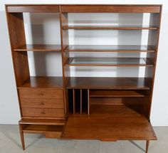 Drexel Parallel Walnut Bookcase Designed By Barney Flag Finished On All  Sides Makes A Great Room Divider Drop Down Desk. The Adjustable Shelves  Have Smoked ...