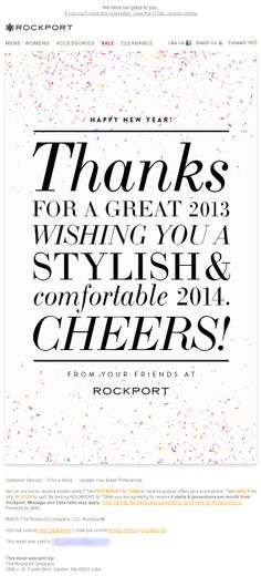 Sent: 12/31/13 SL:'Happy New Year from Your Friends at Rockport!' Happy New Year email from Rockport