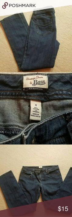 BASS Heritage Denim Bass Heritage Denim jeans, straight leg, petite, 28 inch inseam. Like new condition. Bass Jeans Straight Leg