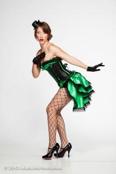 Gorgeous Green Burlesque Corset,  Bustle & Gloves Showgirl Costume