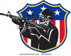 vector illustration of an american soldier swat policeman with m4 carbine rifle set inside shield with stars and stripes. - stock vector #soldier #silhouette #illustration