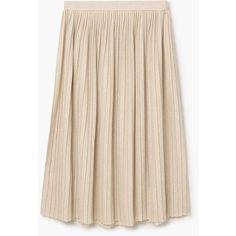 MANGO Metallic Pleated Skirt (€45) ❤ liked on Polyvore featuring skirts, mango skirts, elastic waist skirt, metallic skirt, wet look skirt and knee length pleated skirt