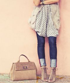 Gingham, Fur, Classic Cuffed Denim
