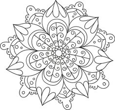 a generic term for any diagram, chart or geometric pattern that represents the cosmos metaphysically or symbolically; a microcosm of the universe. Free Adult Coloring Pages, Mandala Coloring Pages, Coloring Book Pages, Mandala Pattern, Mandala Design, Paper Embroidery, Embroidery Patterns, Mandela Drawing, Art On Wall