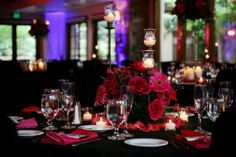 black and burgundy wedding | Black Burgundy Pink Red Centerpiece Winter Wedding Flowers Photos ...