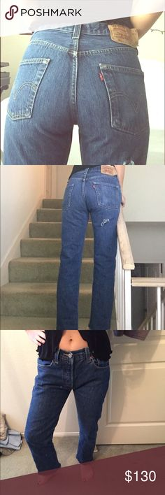 501 Levi jeans Vintage Levi 501 jeans button fly Levi jeans dark wash high waisted jeans vintage rare jeans size 29 raw cut hem at the bottom of jeans to make them flattering has a hole on upper back of thigh for a distress look super cute jeans hate to part with them but they are not my size and have too many jeans.. similar to reformation Levi jeans Jeans Ankle & Cropped