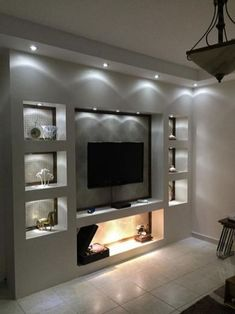 The perfect TV Wall Ideas That Will not Sacrifice Your Look - Spots en pared de . - The perfect TV Wall Ideas That Will not Sacrifice Your Look – Spots en pared de TV - Tv Cabinet Design, Tv Wall Design, Tv Wall Cabinets, Fireplace Tv Wall, Wall Fireplaces, Fireplace Ideas, Modern Tv Wall Units, Tv Wall Decor, Wall Tv