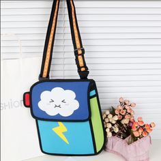Closure:+Zip+ Material:+High+quality+nylon+ Lining:+High+quality+fabric+ Pockets+inside+ Adjustable+straps+ Size:+Width+28cm;+Height31cm;++ Color:+Lightning,+rain+ Care:+Wash+by+hand