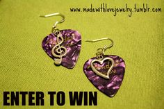 ENTER TO WIN these Guitar Pick Earrings w/ Music Notes and Heart Charms at https://www.facebook.com/photo.php?fbid=10150812531702494=a.10150259644202494.373601.129313577493=1_t=photo_comment