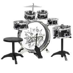 Kids Drum Set Kids Toy with Cymbals Stands Throne Black Silver Boys Toy Drum Kit #BestChoiceProducts