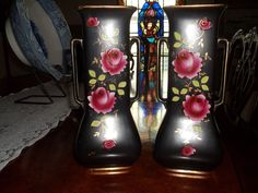 """A pair left and right English vases Black with Roses and gold trim, lovely pair. 10"""" x 4 3/4"""","""
