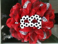 Black red & zebra deco mesh wreath with initial.