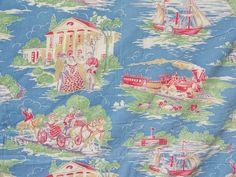 """Vintage """"Gone with The Wind"""" feedsack fabric."""