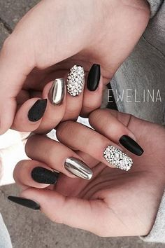 Matte black, diamonds and chrome nails