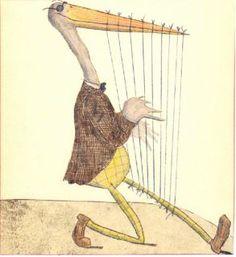Whimsical harp on the run!