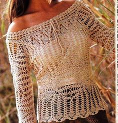 (4) Name: 'Crocheting : Pineapple Lace Top PATTERN