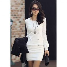 $7.09 Casual Scoop Neck Long Sleeves Solid Color Bodycon Buttons Decoration Cotton Blend Dress For Women