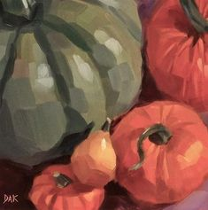 "Daily Paintworks - ""Pumpkin Celebration"" by Deborah Ann Kirkeeide"